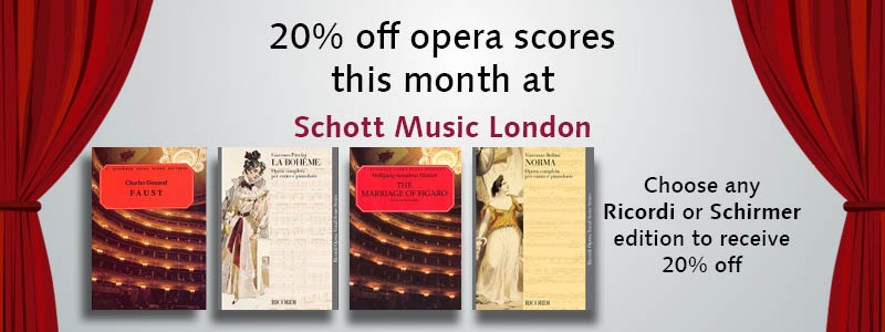 20% opera titles from Ricordi and Schirmer this month